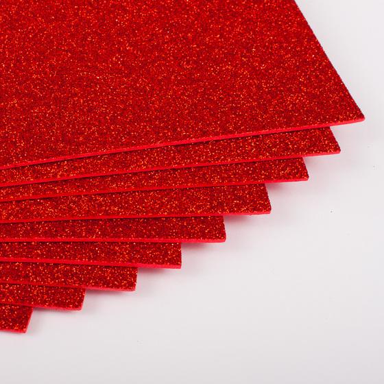 Фоамиран с глиттером 20х30 см 10 листов 2 мм красный (Арт. 7939) -Бумагия-