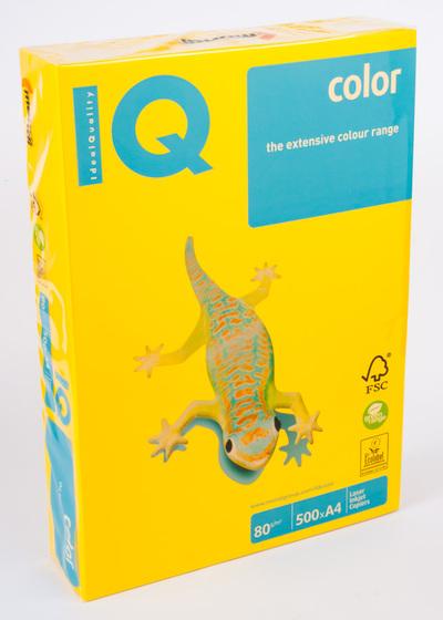 Бумага цветная А4 500 листов 80 г/м2 Mondi IQ IG50 желтый интенсив -Бумагия-