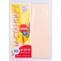 Бумага цветная MIX Megamix А4 250(10х25) листов 80 г/м2 -Бумагия-