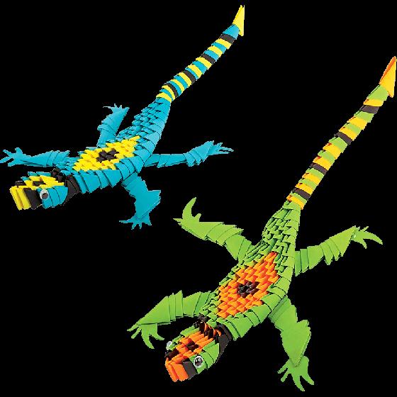 Модульное оригами «Две ящерицы» 308 модулей -Бумагия-