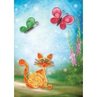 Квиллинг 3D «Кот с бабочками» -Бумагия-